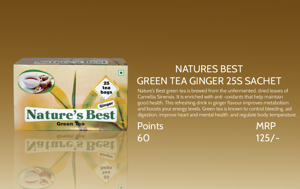 Natures Best Green Tea Ginger 25s Sachet