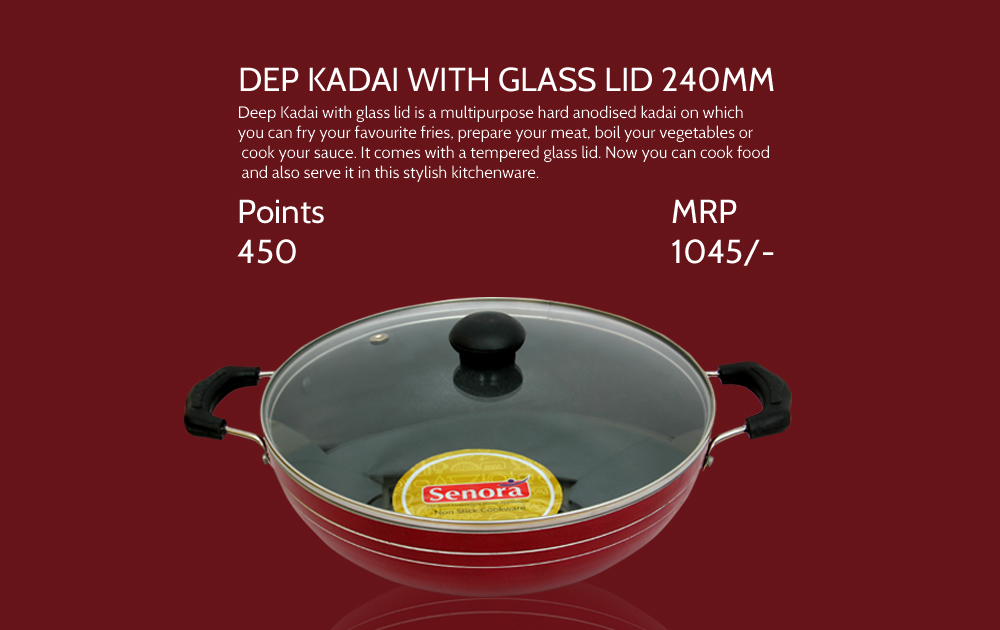 Deep Kadai With Glass Lid 240mm