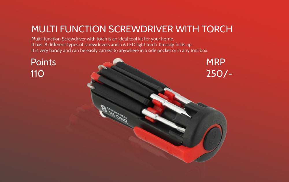 Multi Function Screwdriver With Torch